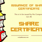 ISSUANCE OF SHARE CERTIFICATE