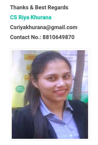top company secretary in delhi -Cs Riya Khurana